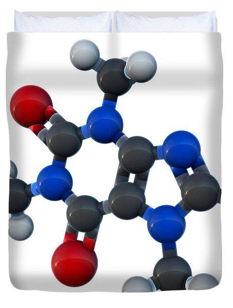 Caffeine Molecular Model Duvet Cover