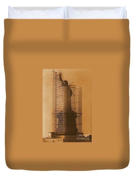 New York Lady Liberty Statue Of Liberty Caged Freedom Duvet Cover