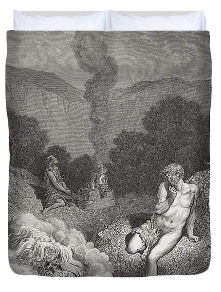 Cain And Abel Offering Their Sacrifices Duvet Cover by Gustave Dore