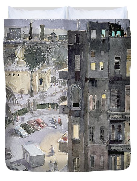 Cairo Night, 1996 Wc On Paper Duvet Cover