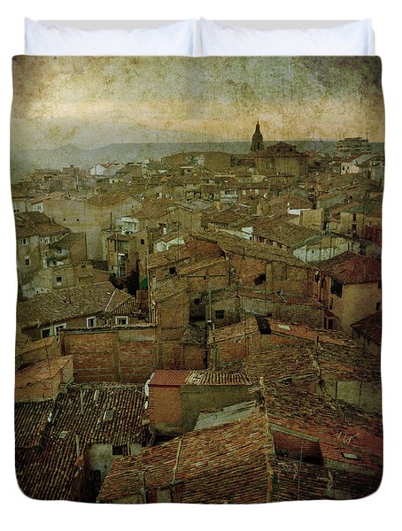 Calahorra Roofs From The Bell Tower Of Saint Andrew Church Duvet Cover by RicardMN Photography
