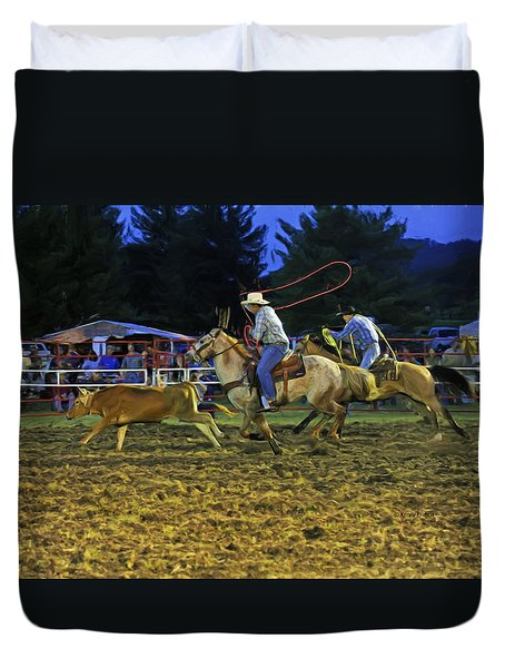 Duvet Cover featuring the photograph Calf Roping by Kenny Francis