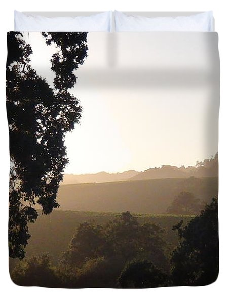 Duvet Cover featuring the photograph Cali Sun Set by Shawn Marlow