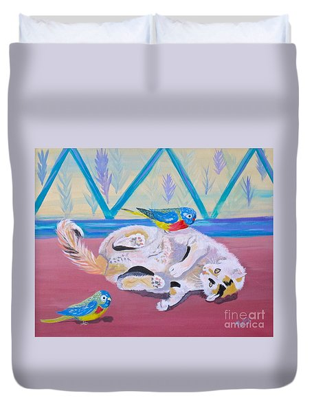 Duvet Cover featuring the painting Calico And Friends by Phyllis Kaltenbach