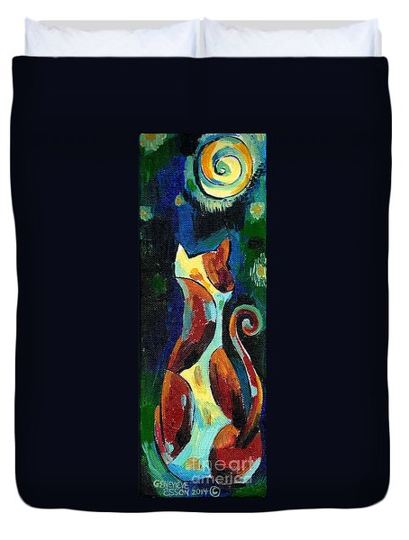 Calico Cat Abstract In Moonlight Duvet Cover by Genevieve Esson