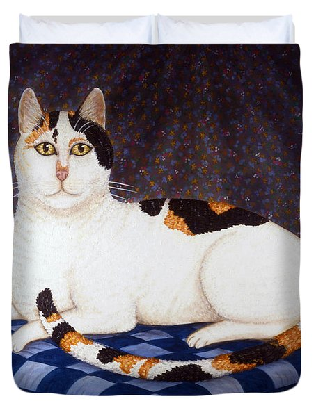 Calico Cat Portrait Duvet Cover by Linda Mears