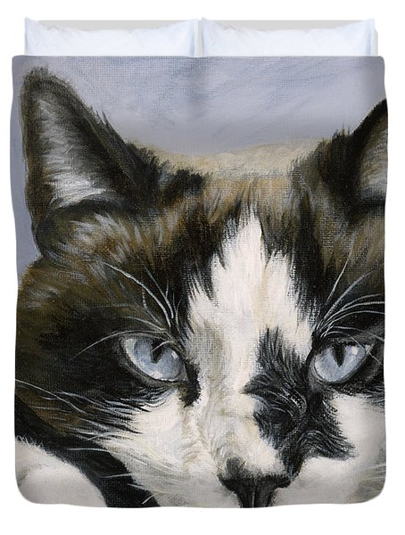 Calico Cat With Attitude Duvet Cover