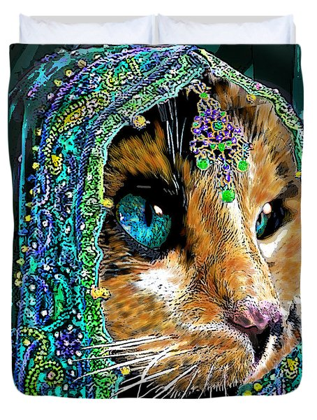 Calico Indian Bride Cats In Hats Duvet Cover