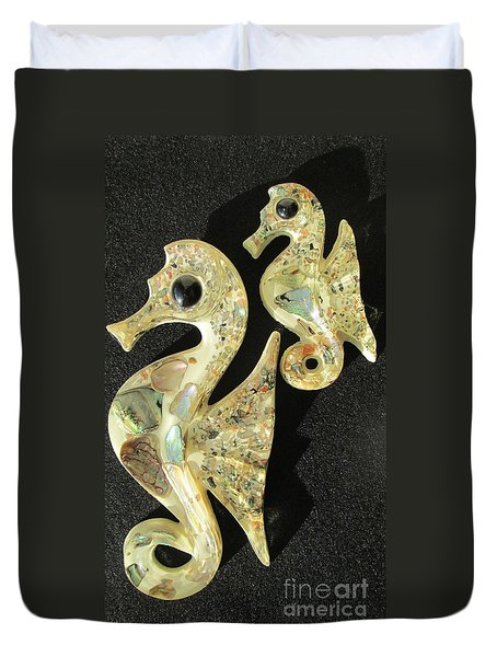 California Abalone Sea Horses Duvet Cover by Peter Gumaer Ogden