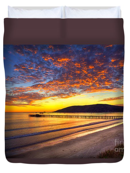 Avila Beach Sunset Duvet Cover