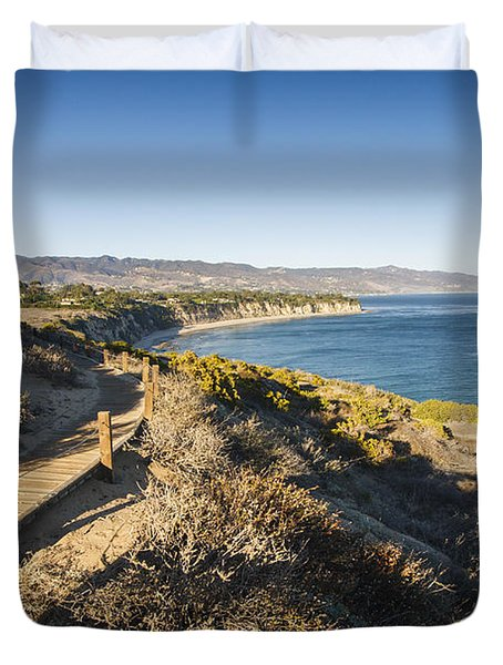 California Coastline From Point Dume Duvet Cover by Adam Romanowicz