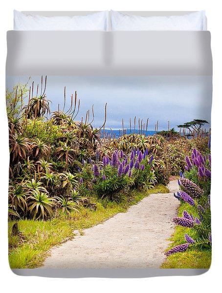 California Coastline Path Duvet Cover by Melinda Ledsome