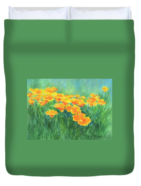 California Golden Poppies Field Bright Colorful Landscape Painting Flowers Floral K. Joann Russell Duvet Cover
