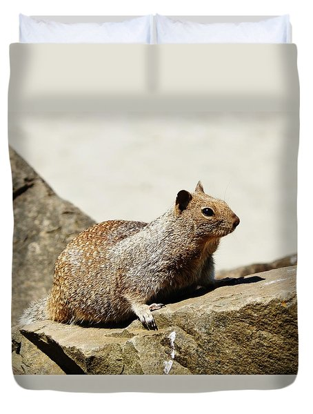 Duvet Cover featuring the photograph California Ground Squirrel by VLee Watson