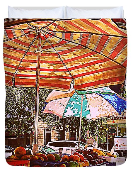 Duvet Cover featuring the photograph California Oranges by Miriam Danar