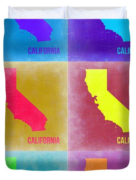 California Pop Art Map 2 Duvet Cover