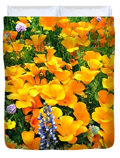 Duvet Cover featuring the photograph California Poppies And Betham Lupines Southern California by Dave Welling
