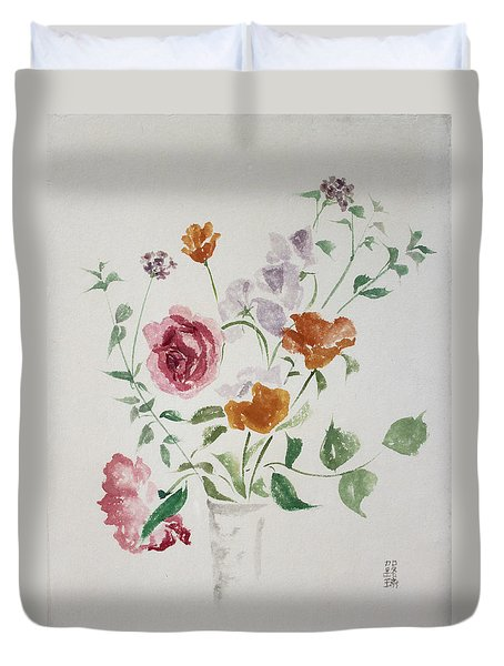 California Poppies And Roses In A Vase Duvet Cover by Asha Carolyn Young