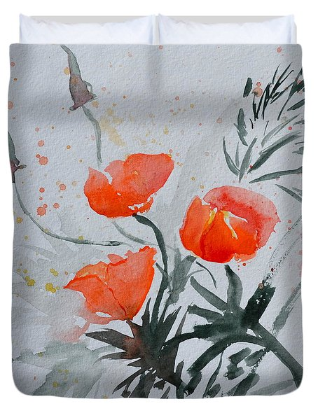 California Poppies Sumi-e Duvet Cover by Beverley Harper Tinsley