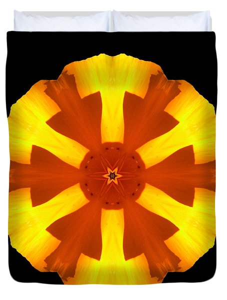 California Poppy Flower Mandala Duvet Cover