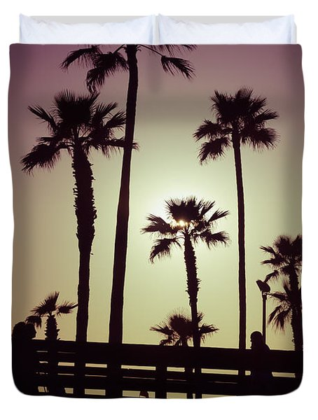 California Sunset Picture With Palm Trees Duvet Cover by Paul Velgos