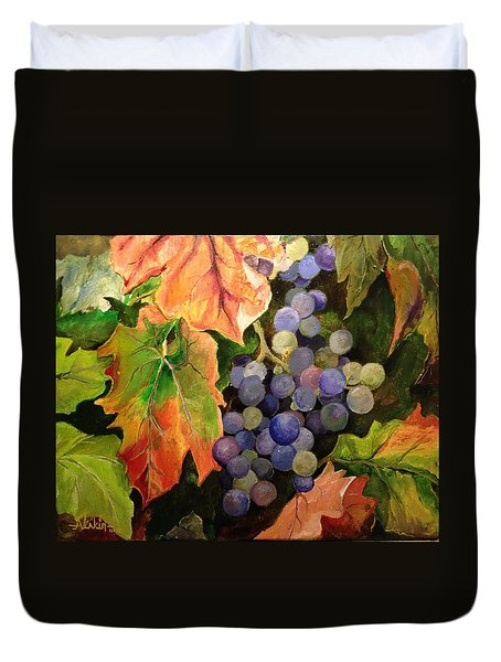Duvet Cover featuring the painting California Vineyards by Alan Lakin