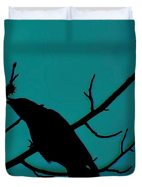 Call Of The Crow On Aqua 2 Duvet Cover