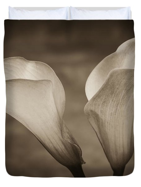 Duvet Cover featuring the photograph Calla Lilies In Sepia by Sebastian Musial