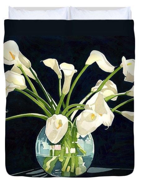 Calla Lilies In Vase Duvet Cover