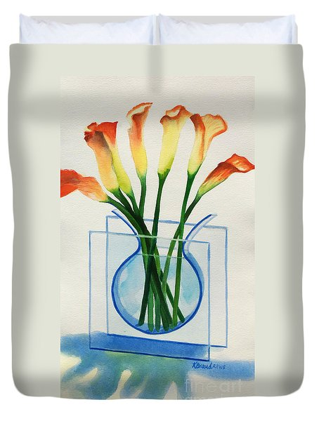 Duvet Cover featuring the painting Calla Lilies by Kathy Braud