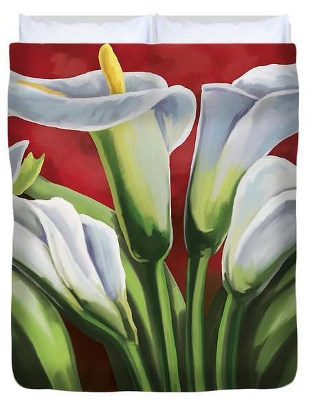 Duvet Cover featuring the painting Calla Lilies  by Tim Gilliland