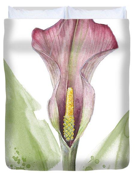 Duvet Cover featuring the painting Calla Lily 01 - Elena Yakubovich by Elena Yakubovich