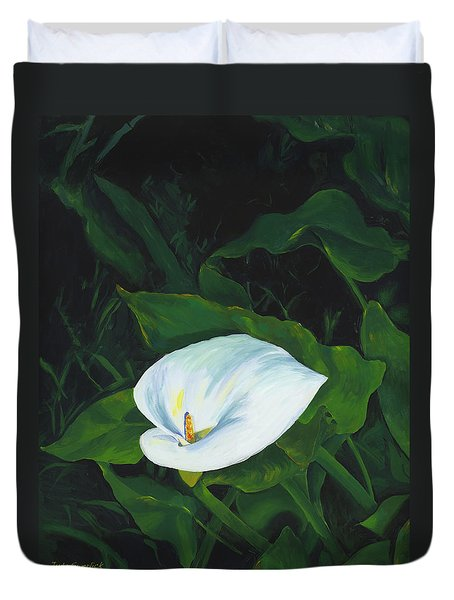 Calla Lily In The Garden Of Diego And Frida Duvet Cover by Judy Swerlick