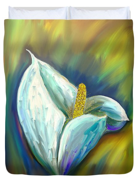 Calla Lily In The Morning Light Duvet Cover by Angela A Stanton