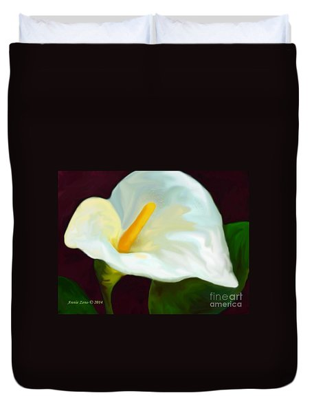 Calla Lily Painting Duvet Cover by Annie Zeno