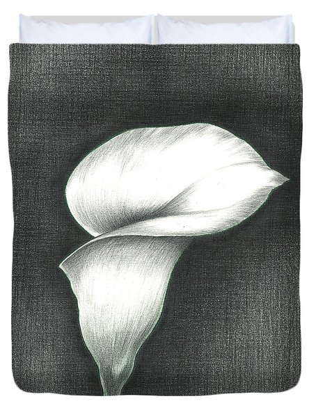 Duvet Cover featuring the photograph Calla Lily by Troy Levesque