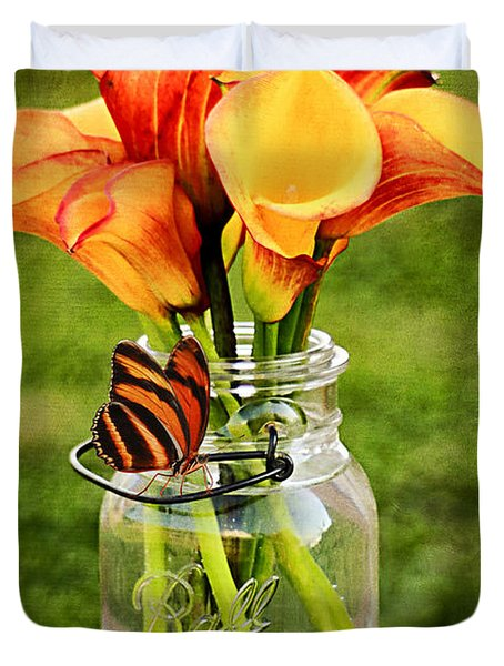 Calla's And The Butterfly Duvet Cover by Darren Fisher