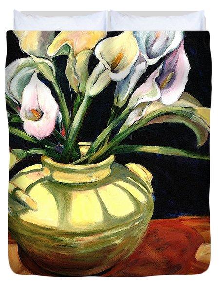 Callas - Floral Art By Betty Cummings Duvet Cover by Sharon Cummings