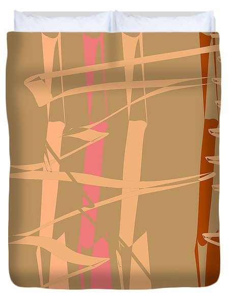 Duvet Cover featuring the digital art Calligraphic Doodle In Tan by Mary Bedy