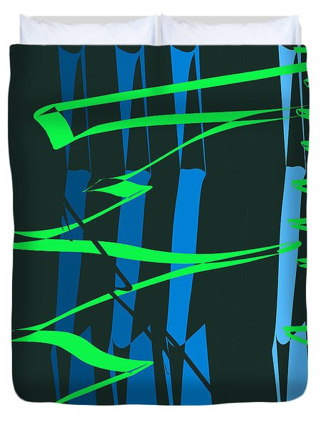 Duvet Cover featuring the digital art Calligraphic Doodle With Green by Mary Bedy