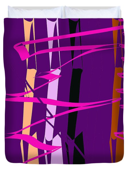 Duvet Cover featuring the digital art Calligraphic Doodle With Pink by Mary Bedy