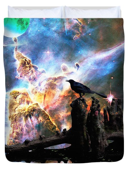 Calling The Night - Crow Art By Sharon Cummings Duvet Cover