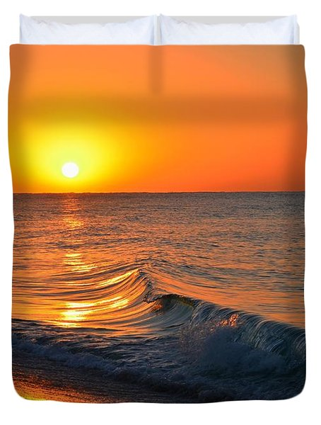 Calm And Clear Sunrise On Navarre Beach With Small Perfect Wave Duvet Cover by Jeff at JSJ Photography