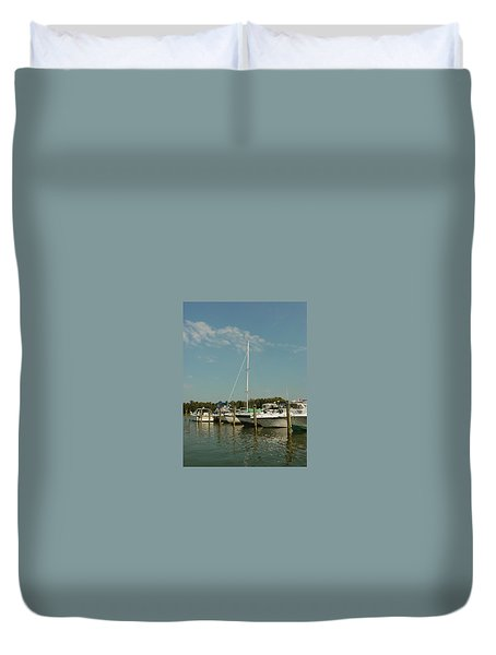 Duvet Cover featuring the photograph Calm Day At The Marina by Dorothy Maier