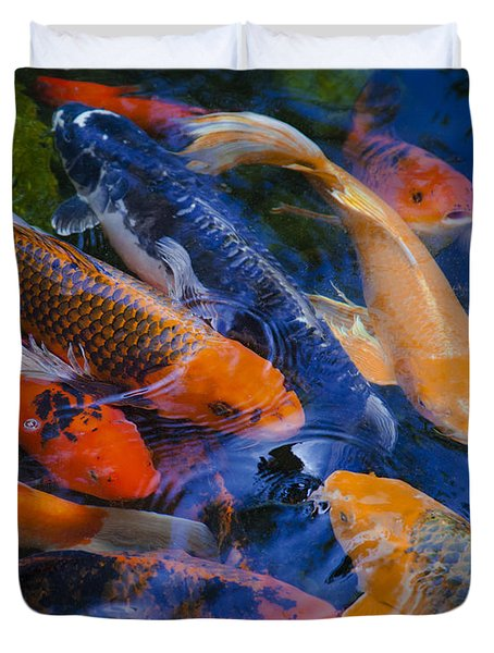 Duvet Cover featuring the photograph Calm Koi Fish by Jerry Cowart