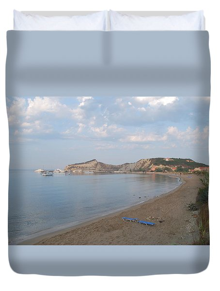 Duvet Cover featuring the photograph Calm Sea by George Katechis