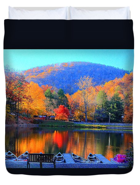 Calm Waters In The Mountains Duvet Cover