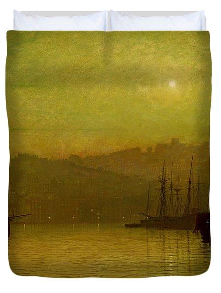 Calm Waters, Scarborough, 1880 Duvet Cover