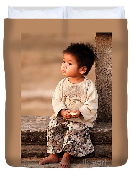 Cambodian Girl 02 Duvet Cover by Rick Piper Photography