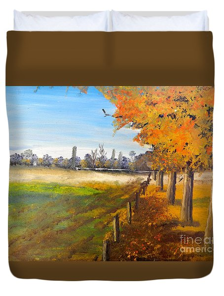 Duvet Cover featuring the painting Camden Farm by Pamela  Meredith